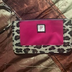 Leopard & Hot Pink Wristlet Bag